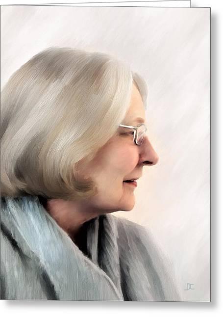 Woman In Grey Greeting Card