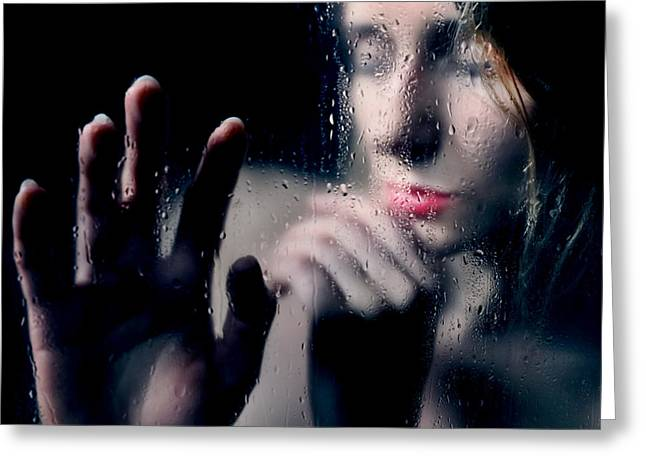 Woman Portrait Behind Glass With Rain Drops Greeting Card