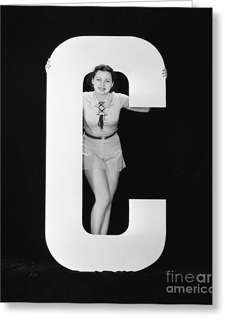 Woman Posing With Huge Letter C Greeting Card by Everett Collection
