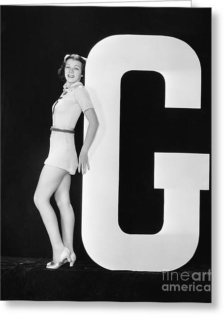 Woman Posing With Huge Letter G Greeting Card