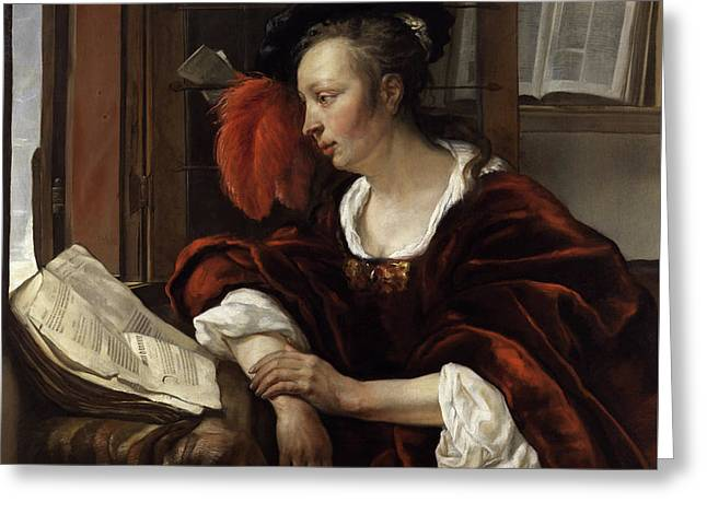 Woman Reading A Book By A Window Greeting Card