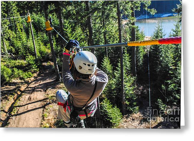 Woman Sliding On A Zip Line In An Greeting Card