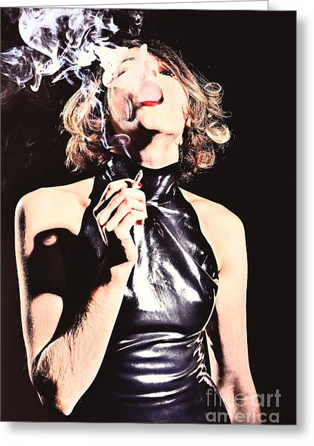 Woman Smoking A Cigarette Greeting Card