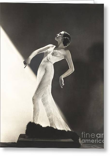 Woman Wearing Sheer Evening Gown Greeting Card