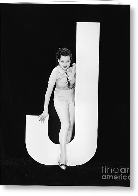 Woman With Huge Letter J Greeting Card