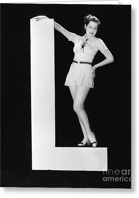 Woman With Huge Letter L Greeting Card