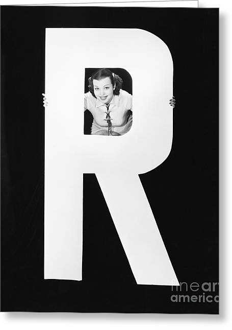 Woman With Huge Letter R Greeting Card