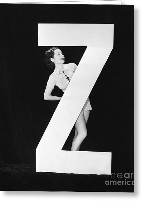 Woman With Huge Letter Z Greeting Card