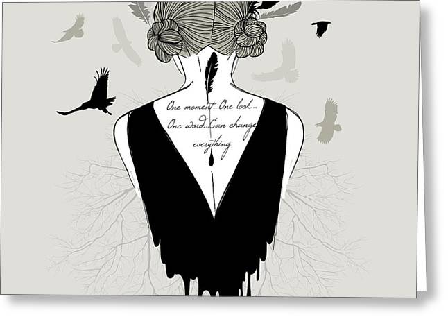 Woman With Lettering On Her Back Greeting Card