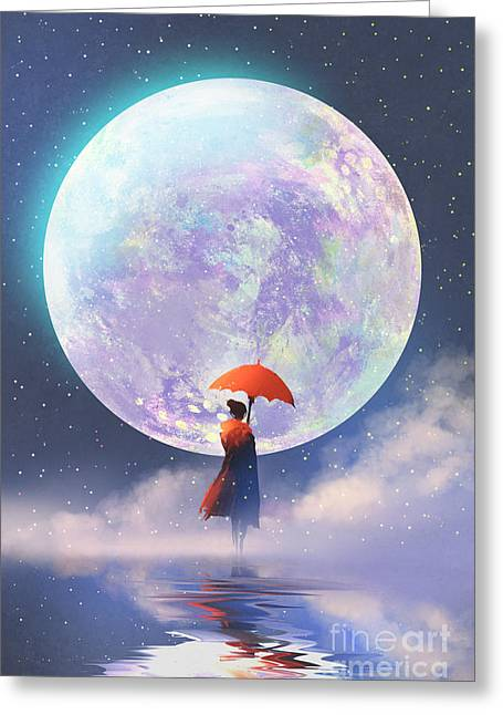 Woman With Red Umbrella Standing On Greeting Card
