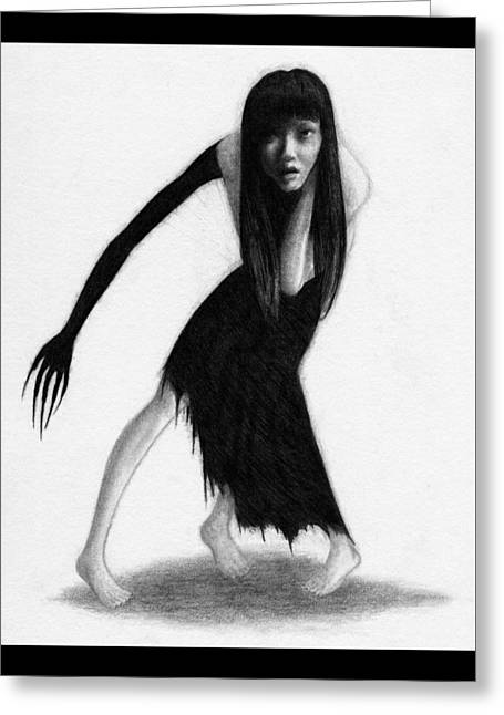 Woman With The Black Arm Of Demon Ghost - Artwork Greeting Card