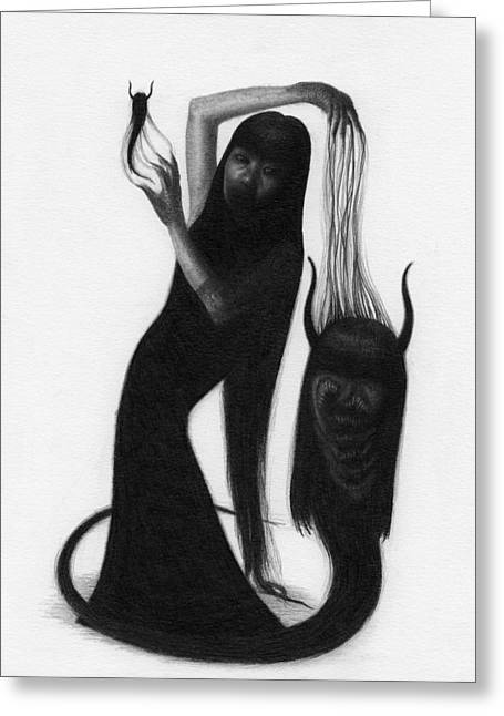 Woman With The Demon's Fingers - Artwork Greeting Card