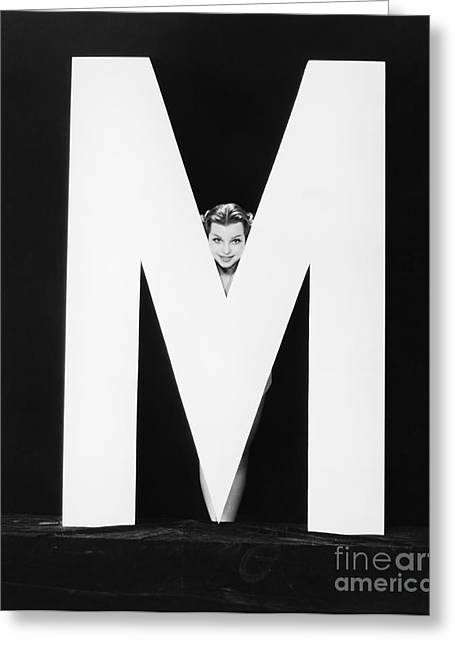 Womans Face With Huge Letter M Greeting Card by Everett Collection