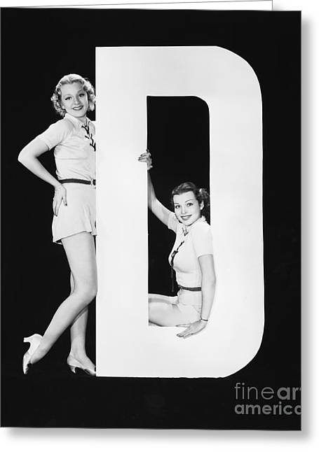 Women Posing With Huge Letter D Greeting Card