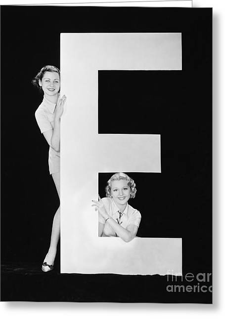 Women Posing With Huge Letter E Greeting Card
