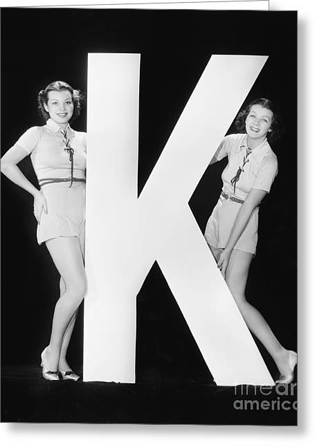 Women Posing With Huge Letter K Greeting Card