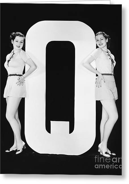 Women Posing With Huge Letter Q Greeting Card