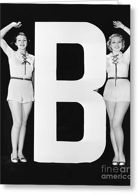 Women Waving With Huge Letter B Greeting Card