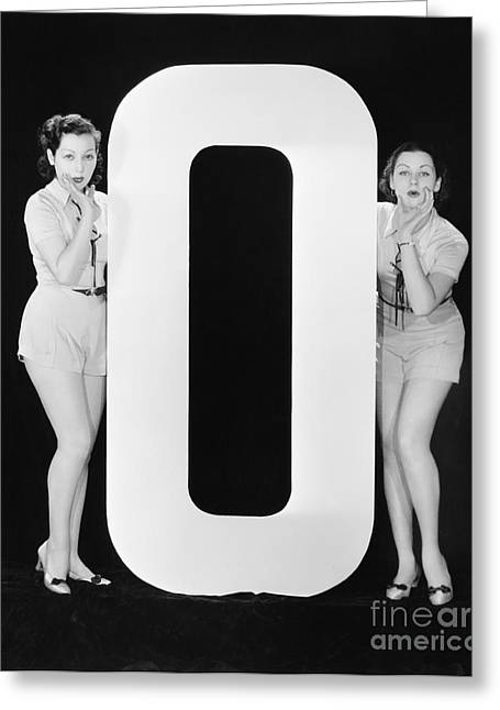 Women With Huge Letter O Greeting Card