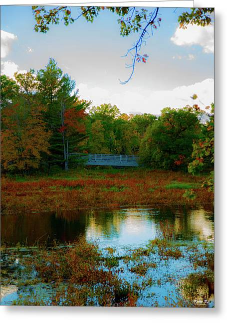 Wood Bridge In The Fall Greeting Card