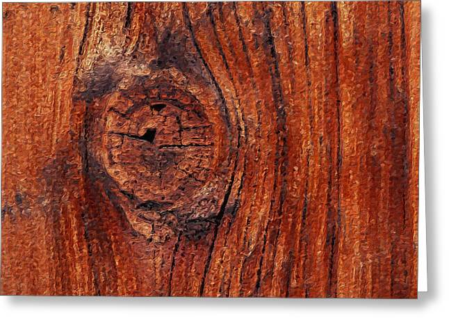 Greeting Card featuring the digital art Wood Knot by ISAW Company