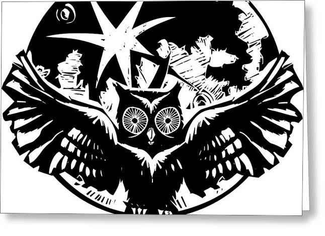 Woodcut Flying Owl With Feathered Wings Greeting Card