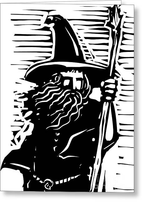 Woodcut Style Image Of A Magical Wizard Greeting Card