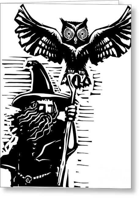 Woodcut Style Image Of A Wizard Holding Greeting Card