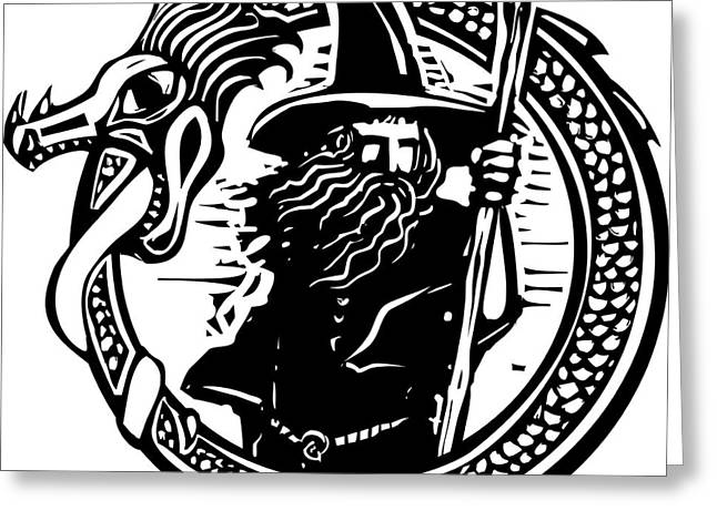 Woodcut Style Image Of A Wizard In A An Greeting Card