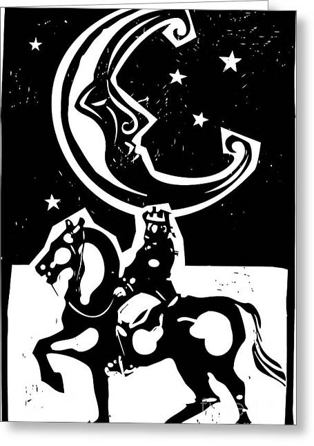 Woodcut Style Moon And Mounted King On Greeting Card