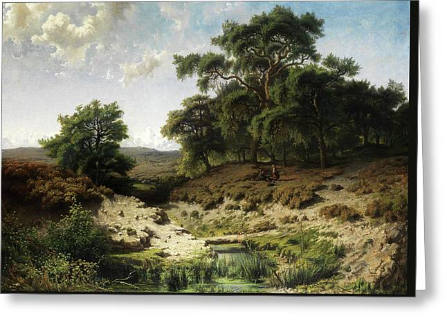 Wooded Landscape With Watercourse And Staffage Figures Greeting Card