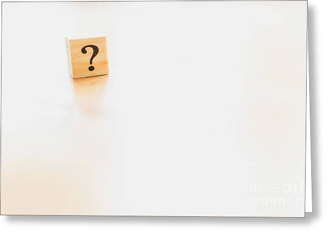 Wooden Dice With Question Mark And Doubt. Greeting Card