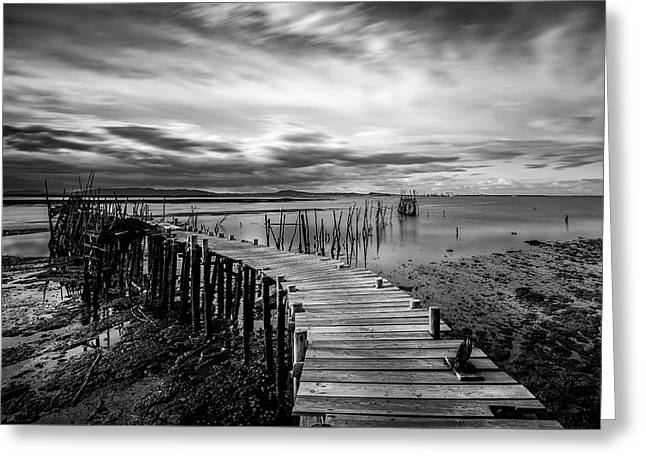 Greeting Card featuring the photograph Wooden Fishing Piers by Michalakis Ppalis