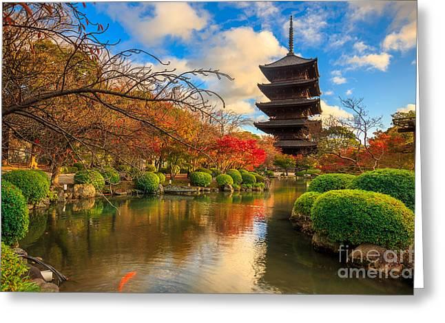 Wooden Pagoda Of Toji Temple, Kyoto Greeting Card
