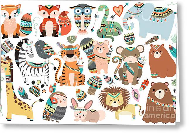 Woodland And Jungle Tribal Animals Greeting Card