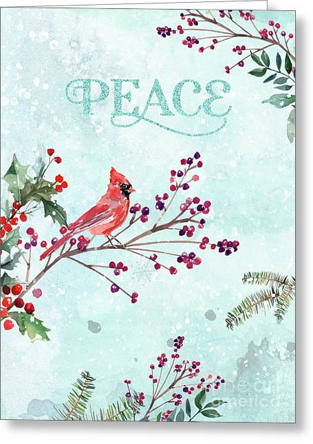 Woodland Holiday Peace Art Greeting Card