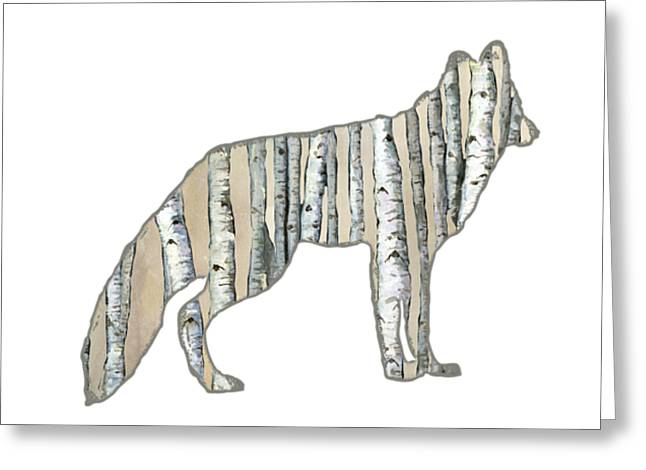 Woods Forest Lodge Wolf With Aspen Trees Greeting Card