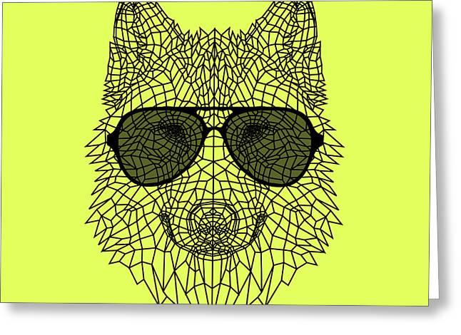 Woolf In Black Glasses Greeting Card