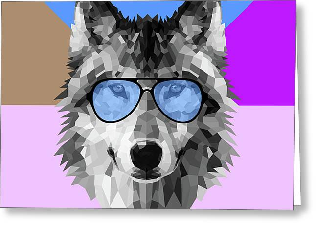 Woolf In Blue Glasses Greeting Card