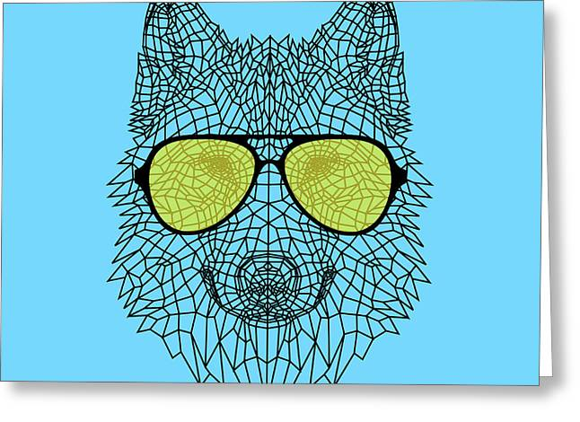 Woolf In Yellow Glasses Greeting Card