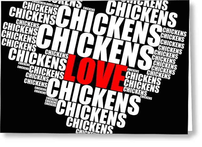 Word Cloud White Love Chickens Greeting Card
