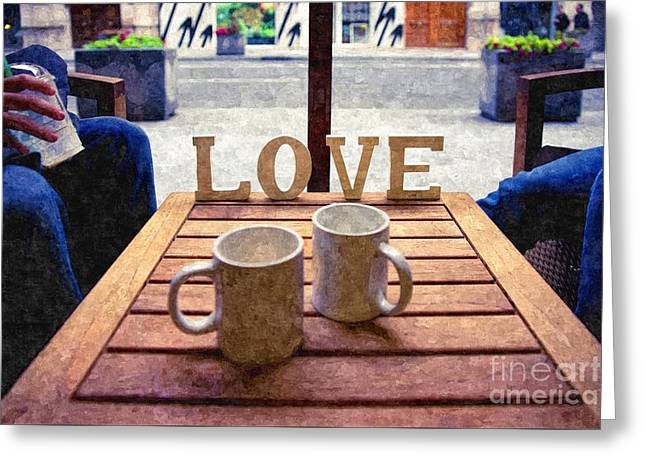 Word Love Next To Two Cups Of Coffee On A Table In A Cafeteria,  Greeting Card