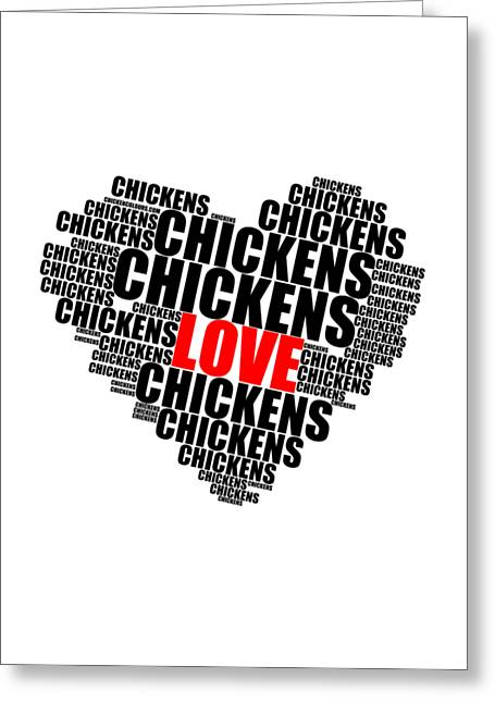 Wordcloud Love Chickens Black Greeting Card