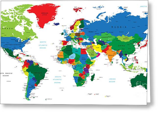 World Map-countries Greeting Card