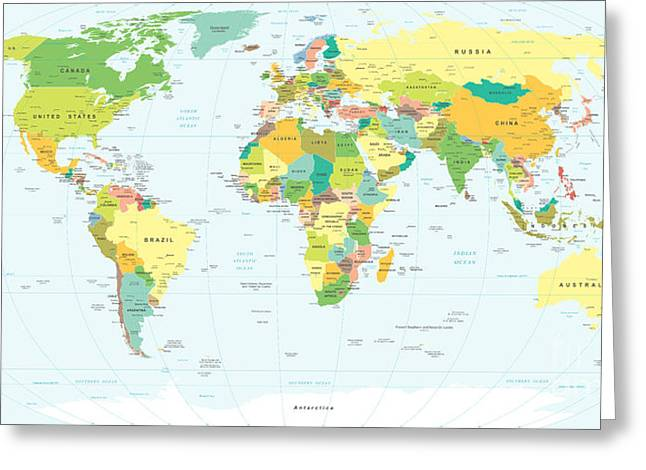 World Map - Highly Detailed Vector Greeting Card