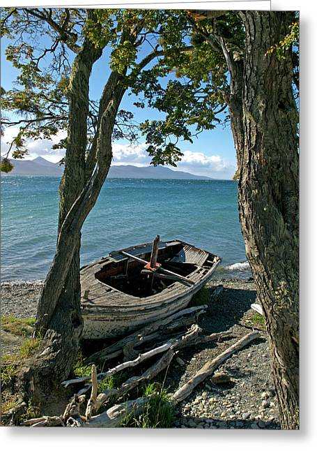 Wrecked Boat Patagonia Greeting Card