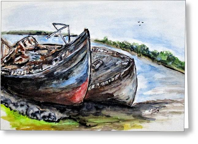 Wrecked River Boats Greeting Card