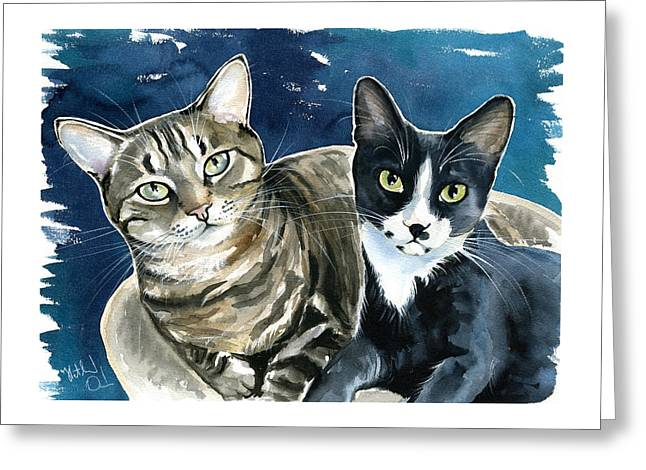 Xani And Zach Cat Painting Greeting Card