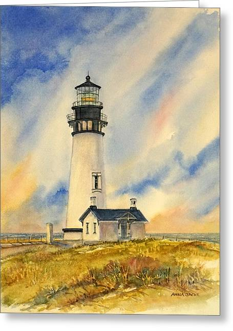 Yaquina Head - Late Afternoon Sunlight Greeting Card