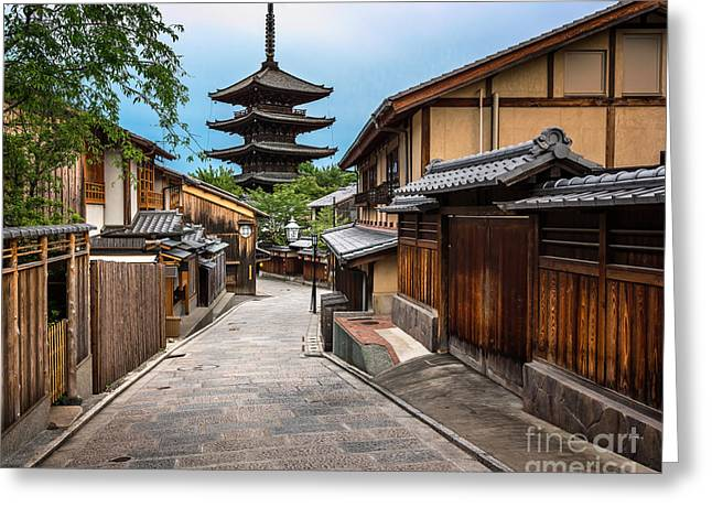 Yasaka Pagoda And Sannen Zaka Street In Greeting Card
